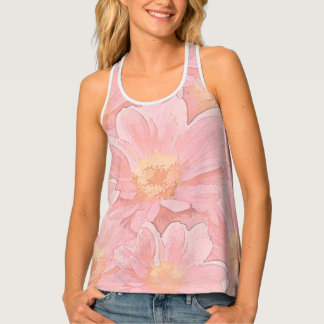Pretty In Pink Painterly Floral Tank Tops Tank Top