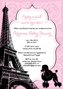 Pink paris baby shower invitations zazzle pretty in pink paris themed baby shower invite filmwisefo