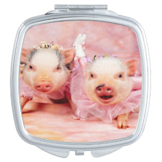 Pretty In Pink Pigs Compact Mirror