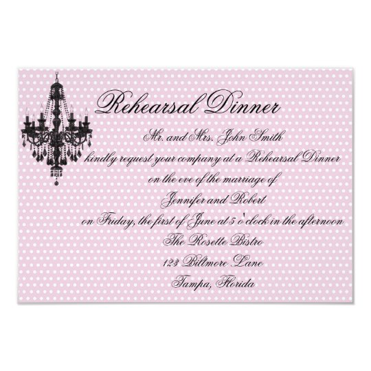 Pretty in Pink Polka Dots with Black Chandelier Re Card