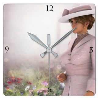 Pretty in Pink Square Clock