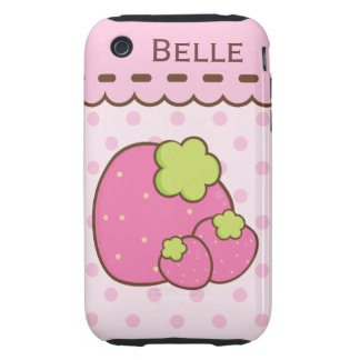 Pretty in Pink Summer Strawberries Tough iPhone 3 Covers