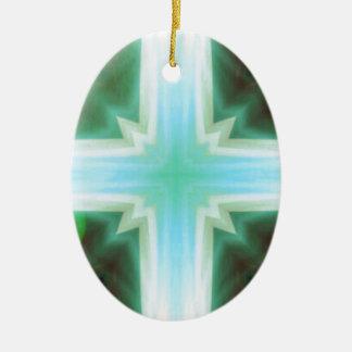 Pretty Inspirational Cross Shaped Pattern Ceramic Oval Decoration