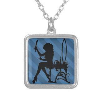 Pretty is Vintage Candy Stripe Powder Blue Grunge Necklace