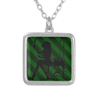 Pretty is Vintage Stripe Emerald Green Grunge Necklace