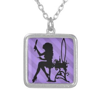 Pretty is Vintage Stripe Lavender Purple Grunge Necklaces
