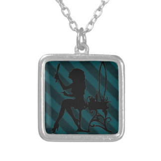 Pretty is Vintage Stripe Turquoise Teal Grunge Personalized Necklace