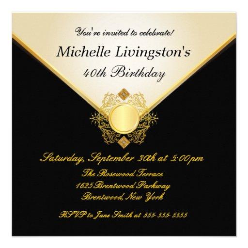 Pretty Ivory Gold Black Womens BirthdayInvitations Personalized Invitation