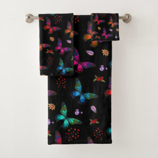 Pretty Jewel Tone Butterflies on Black Bath Towel Set