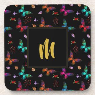 Pretty Jewel Tone Butterflies on Black  Monogram Coaster
