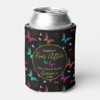 Pretty Jewel Tone Butterflies on Black Wedding Can Cooler