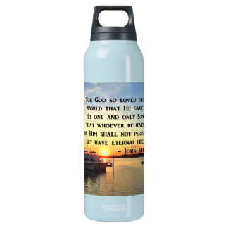PRETTY JOHN 3:16 SUNSET PHOTO DESIGN INSULATED WATER BOTTLE