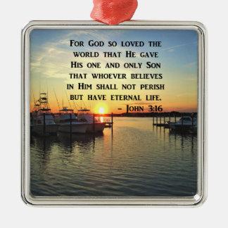 PRETTY JOHN 3:16 SUNSET PHOTO DESIGN METAL ORNAMENT