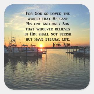 PRETTY JOHN 3:16 SUNSET PHOTO DESIGN SQUARE STICKER