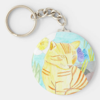 Pretty Kitty Basic Round Button Key Ring