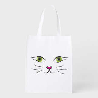 Pretty Kitty Cat Face Grocery bag