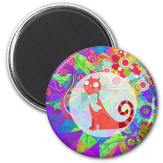 Pretty Kitty Crazy Cat Lady Gifts Vibrant Colorful 6 Cm Round Magnet