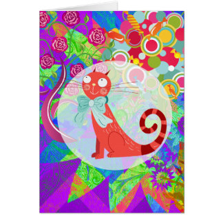 Pretty Kitty Crazy Cat Lady Gifts Vibrant Colorful Card