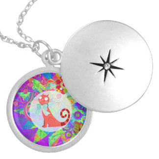 Pretty Kitty Crazy Cat Lady Gifts Vibrant Colorful Pendants