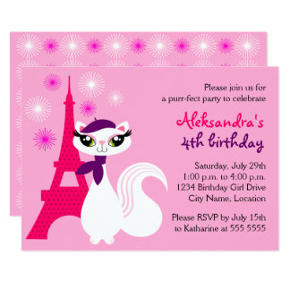Pretty Kitty Paris Birthday Card