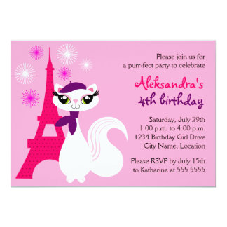 Pretty Kitty Paris Birthday Invitation