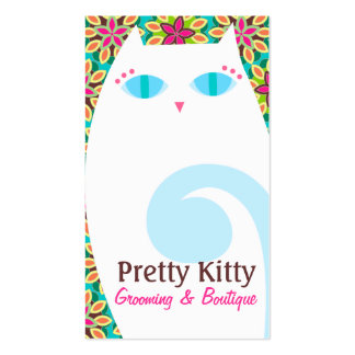 Pretty Kitty White & Floral Business Cards