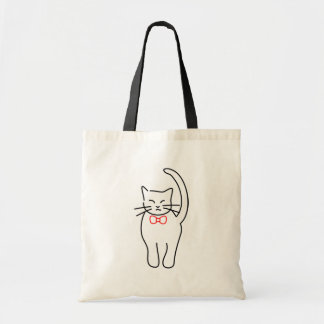 Pretty Kitty With Red Bow Budget Tote Bag