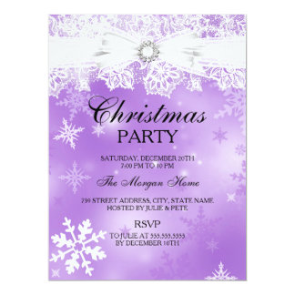 Pretty Lace & Bow Purple Christmas Holiday Invite