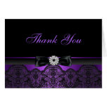 Pretty Lace & Bow Purple Thank You Card