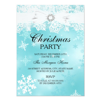 Pretty Lace & Bow Teal Christmas Holiday Invite