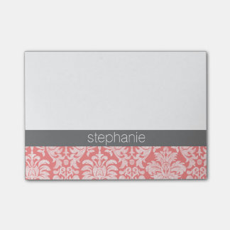 Pretty Lace Damask Pattern Coral Gray Post-it Notes