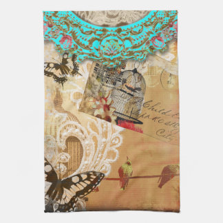 Pretty Lace Edge Vintage Butterfly Turquoise Sepia Tea Towel