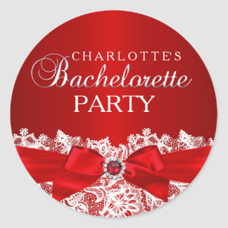 Pretty Lace & Jewel Bow Red Bachelorette Sticker