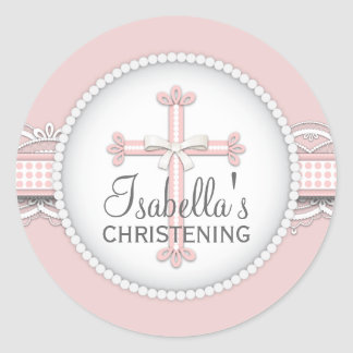 Pretty Lace Religious Celebration Cross in Pink Round Sticker