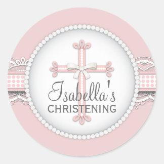 Pretty Lace Religious Celebration Cross in Pink Round Sticker