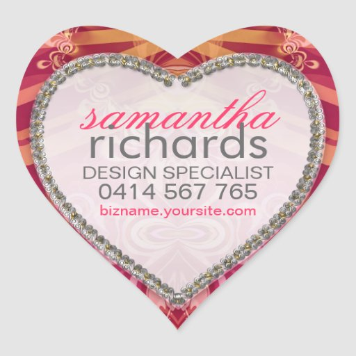 Pretty Lace Ribbons CustomName Heart Stickers