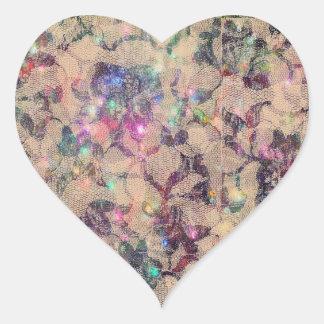 Pretty Lace Roses Heart Sticker