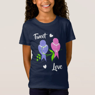 Pretty Lacey Patterned Birds Tweet Love T-Shirt