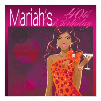 Pretty Lady Birthday Cocktail fuschia/orange 13 Cm X 13 Cm Square Invitation Card