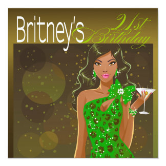 Pretty Lady Birthday Cocktail olive/green 13 Cm X 13 Cm Square Invitation Card