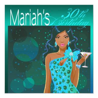 Pretty Lady Birthday Cocktail Party teal/aqua 13 Cm X 13 Cm Square Invitation Card