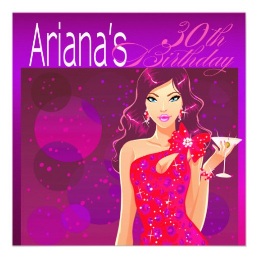Pretty Lady Birthday Cocktail Party violet/red Personalized Invites