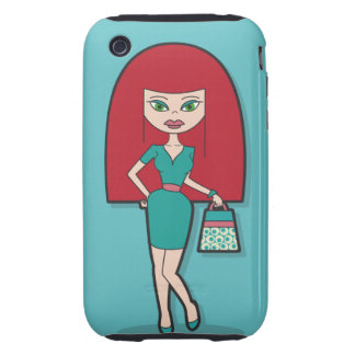 Pretty Lady with handbag on blue background iPhone 3 Tough Case