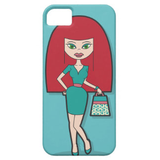 Pretty Lady with handbag on blue background iPhone 5 Covers