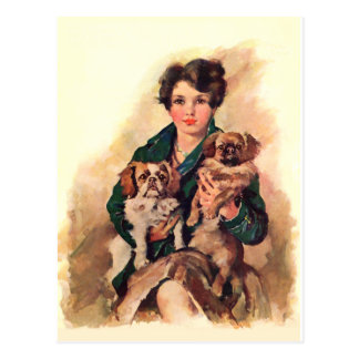 Pretty Lady with Pekingese Dogs Postcard