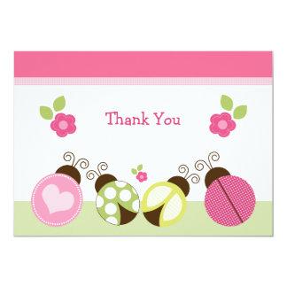 Pretty Ladybugs & Flowers Thank You Card 13 Cm X 18 Cm Invitation Card