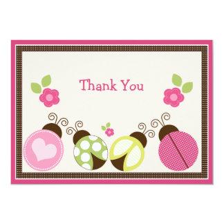 "Pretty Ladybugs & Flowers Thank You Card 5"" X 7"" Invitation Card"