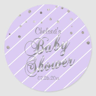 Pretty Lavender and Silver - Baby Shower Classic Round Sticker