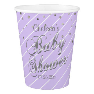 Pretty Lavender and Silver - Baby Shower Paper Cup