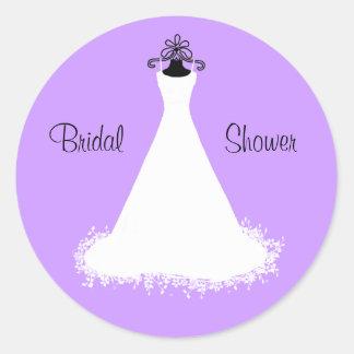 Pretty Lavender Bridal Shower Envelope Seal Round Sticker